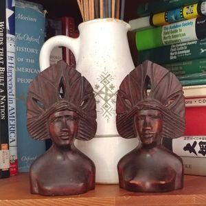 Warriors with headdress hand carved tribal people